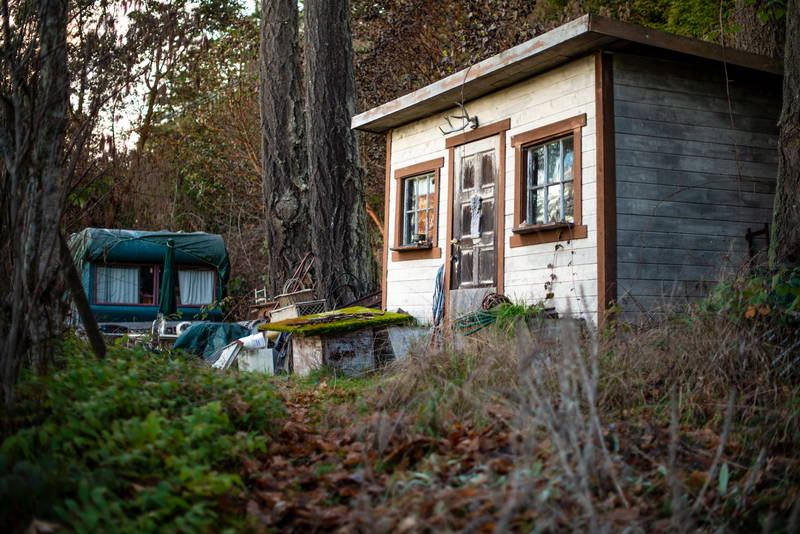 Tiny home, cabin in the woods on the Gulf Islands in rural British Columbia. Stock Photography Free for Commercial Use.