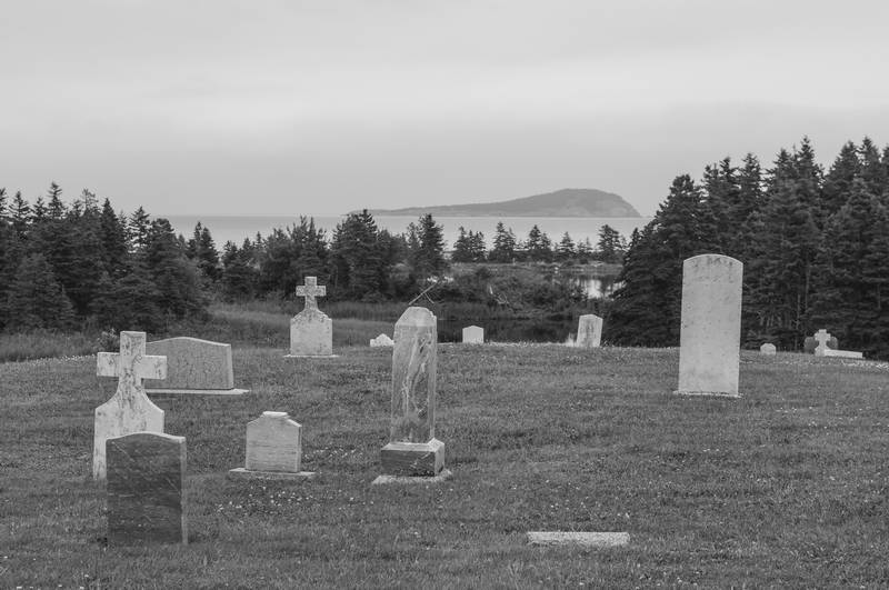 Hilltop cemetery in black and white. Stock Photography Free for Commercial Use.