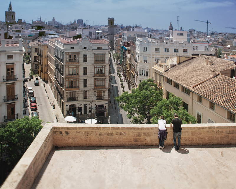 Beautiful rooftop view of the streets from above. Stock Photography Free for Commercial Use.
