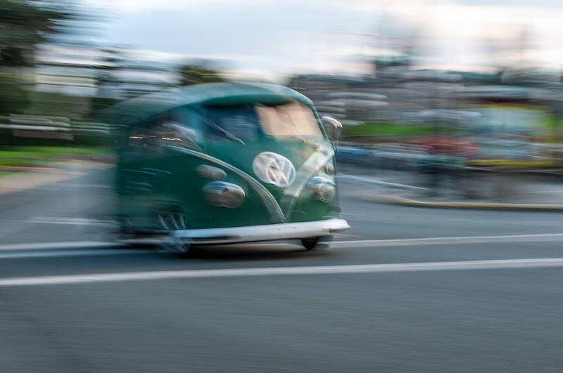 Vintage Volkswagen Van Going Fast. Stock Photography Free for Commercial Use.